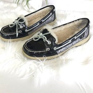 SPERRY Fur Lined Glitter Patent Leather Angelfish